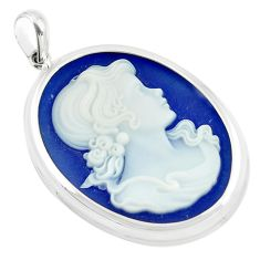 24.08cts white lady cameo oval 925 sterling silver pendant jewelry c21317