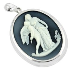 26.08cts white mother baby love cameo 925 sterling silver pendant jewelry c21261