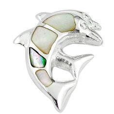 White pearl enamel 925 sterling silver fish pendant jewelry c22749
