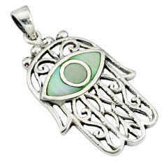 White pearl enamel 925 sterling silver hand of god hamsa pendant c12443