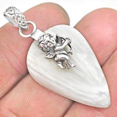 20.61cts white scolecite high vibration crystal silver wings pendant r91158