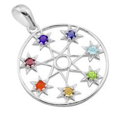 Wicca symbol amethyst cornelian topaz iolite 925 silver chakra pendant t40468