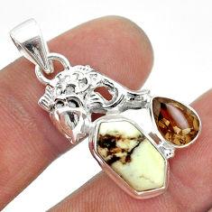 7.79cts wild horse magnesite hexagon smoky topaz 925 silver fish pendant t55365