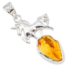 10.01cts yellow citrine rough 925 sterling silver horse pendant jewelry r31327