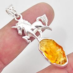 12.36cts yellow citrine rough 925 sterling silver horse pendant jewelry r31369