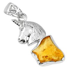 8.94cts yellow citrine rough 925 sterling silver horse pendant jewelry r56802