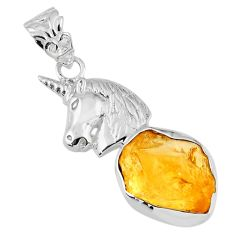 9.95cts yellow citrine rough 925 sterling silver horse pendant jewelry r56821