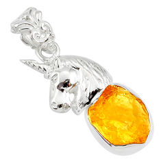 6.83cts yellow citrine raw 925 sterling silver horse pendant jewelry r80902