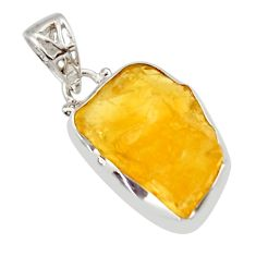 13.70cts yellow citrine rough 925 sterling silver pendant jewelry r29847