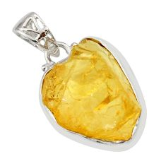 16.73cts yellow citrine rough 925 sterling silver pendant jewelry r29848