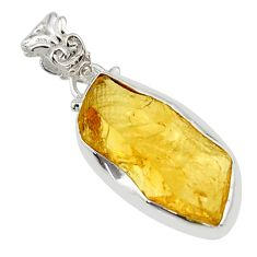 13.70cts yellow citrine rough 925 sterling silver pendant jewelry r29857
