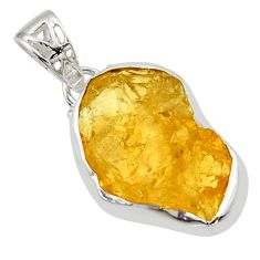 13.57cts yellow citrine rough 925 sterling silver pendant jewelry r29859