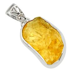 15.08cts yellow citrine rough 925 sterling silver pendant jewelry r29860