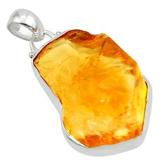 21.48cts yellow citrine rough 925 sterling silver pendant jewelry r29962