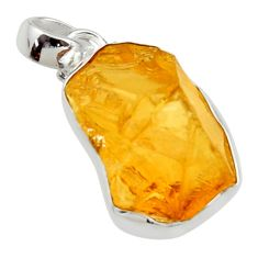13.67cts yellow citrine rough 925 sterling silver pendant jewelry r29965