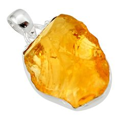 16.73cts yellow citrine rough 925 sterling silver pendant jewelry r29969