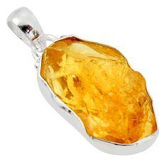 12.58cts yellow citrine rough 925 sterling silver pendant jewelry r29971