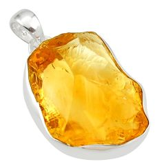 22.39cts yellow citrine rough 925 sterling silver pendant jewelry r29973