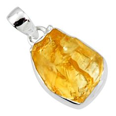 15.65cts yellow citrine rough 925 sterling silver pendant jewelry r51156