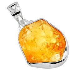 14.72cts yellow citrine rough 925 sterling silver pendant jewelry r56572
