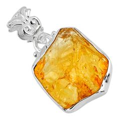 13.15cts yellow citrine rough 925 sterling silver pendant jewelry r56573