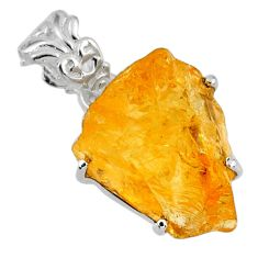 13.20cts yellow citrine rough 925 sterling silver pendant jewelry r56601