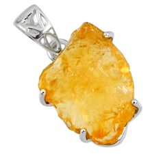 15.36cts yellow citrine rough 925 sterling silver pendant jewelry r56602
