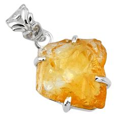12.66cts yellow citrine rough 925 sterling silver pendant jewelry r56608