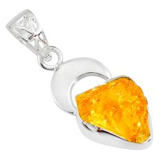 7.24cts yellow citrine raw 925 sterling silver fancy handmade pendant r80905