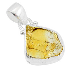 8.24cts yellow citrine raw 925 sterling silver pendant jewelry t4310
