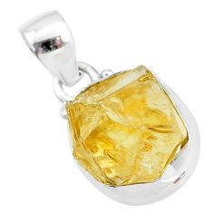 8.82cts yellow citrine raw 925 sterling silver pendant jewelry t4313