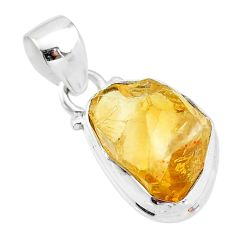5.84cts yellow citrine raw 925 sterling silver pendant jewelry t4314