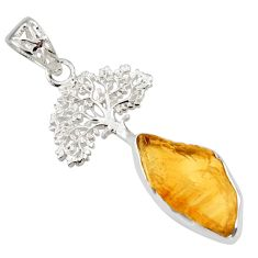 7.97cts yellow citrine rough 925 sterling silver tree of life pendant r31328