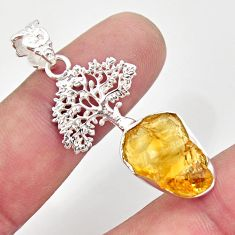 10.32cts yellow citrine rough 925 sterling silver tree of life pendant r31368