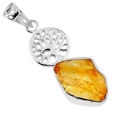 7.97cts yellow citrine rough 925 sterling silver tree of life pendant r56804