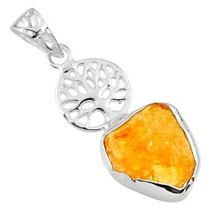 8.26cts yellow citrine rough 925 sterling silver tree of life pendant r56823