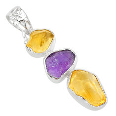 11.66cts yellow citrine raw amethyst raw 925 sterling silver pendant t33412