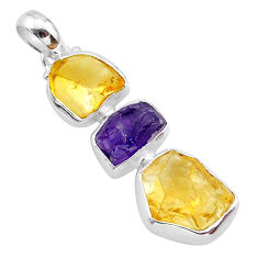 11.18cts yellow citrine raw amethyst raw 925 sterling silver pendant t33415