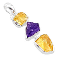 9.27cts yellow citrine raw amethyst raw 925 sterling silver pendant t33418