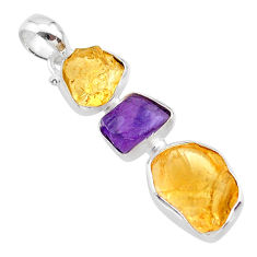11.25cts yellow citrine raw amethyst raw 925 sterling silver pendant t33419