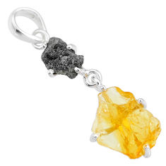8.42cts yellow citrine raw diamond rough 925 sterling silver pendant t4302