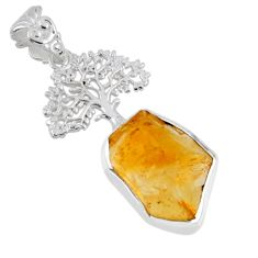 9.21cts yellow citrine rough fancy 925 silver tree of life pendant r56806