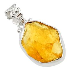 13.15cts yellow citrine rough fancy 925 sterling silver pendant jewelry r29851