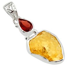 14.65cts yellow citrine rough garnet 925 sterling silver pendant jewelry r29802