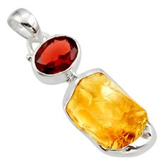 13.70cts yellow citrine rough garnet 925 sterling silver pendant jewelry r29806