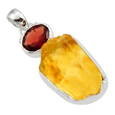 16.18cts yellow citrine rough garnet 925 sterling silver pendant jewelry r29807