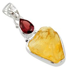 14.72cts yellow citrine rough garnet 925 sterling silver pendant jewelry r29812