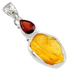 13.70cts yellow citrine rough garnet 925 sterling silver pendant jewelry r29818
