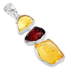 15.80cts yellow citrine raw garnet raw 925 sterling silver pendant t33382