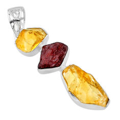 13.87cts yellow citrine raw garnet raw 925 sterling silver pendant t33387
